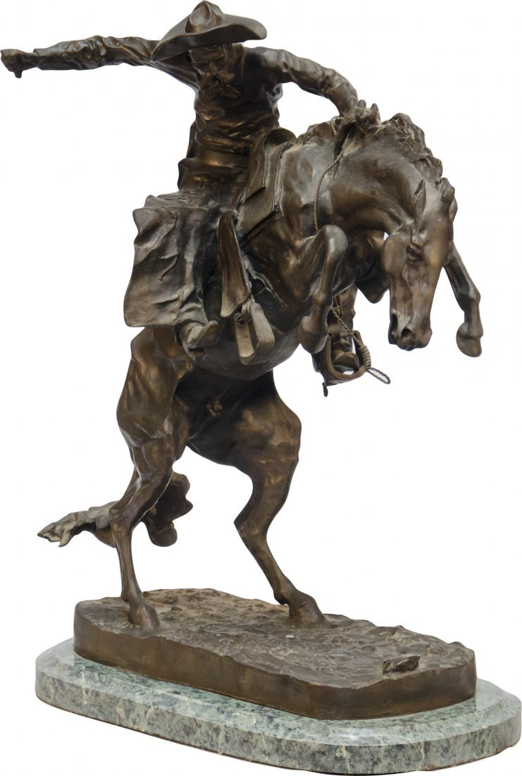 """977: """"Broncho Buster"""" Cowboy On Horse Bronze Figural St"""