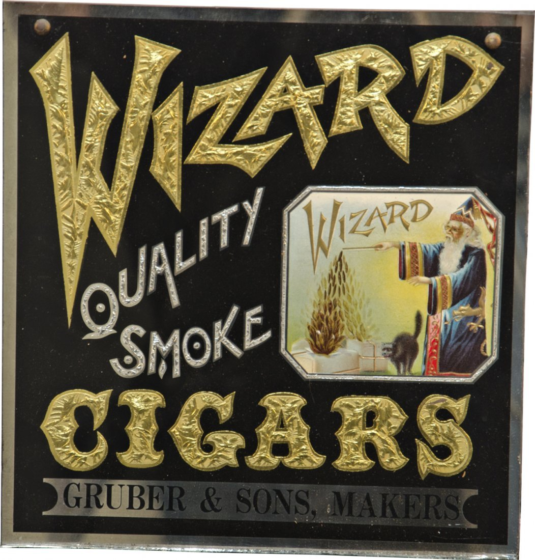 979: Wizard Cigars Reverse On Glass Advertisement Sign