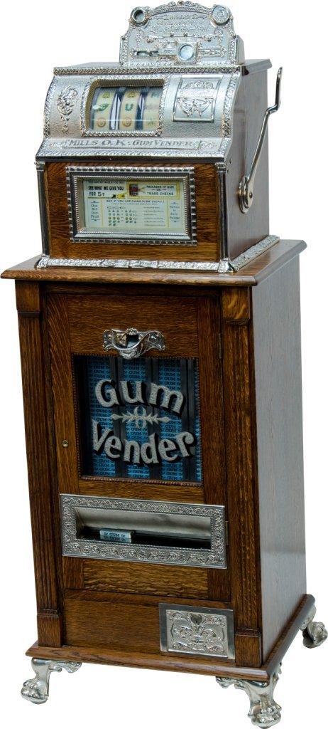 """983: 5 Cent Mills Novelty """"Mills O.K. Gum Vender"""" 3-Ree"""
