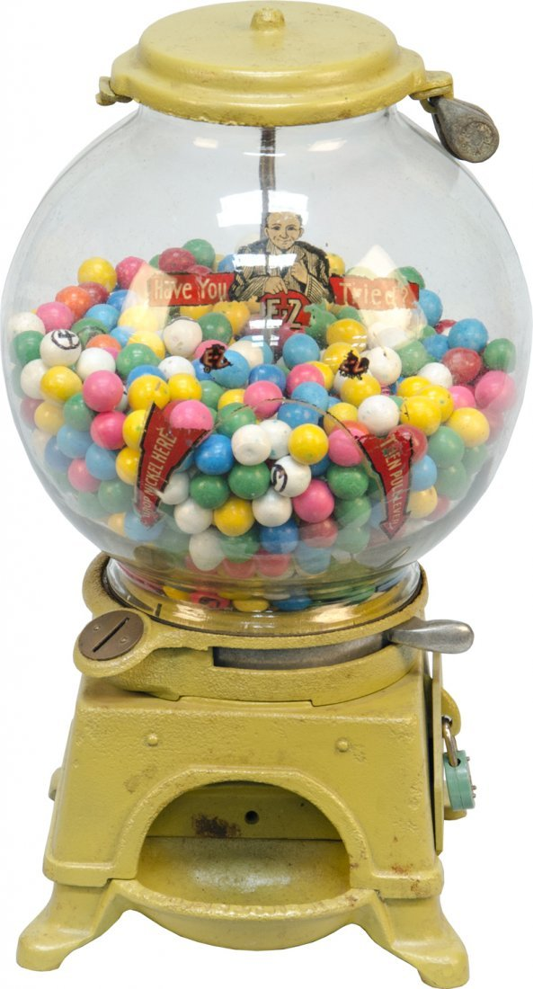 """984: 5 Cent Ad-Lee Novelty Co. """"E-Z"""" Drilled Gumball/Ga"""