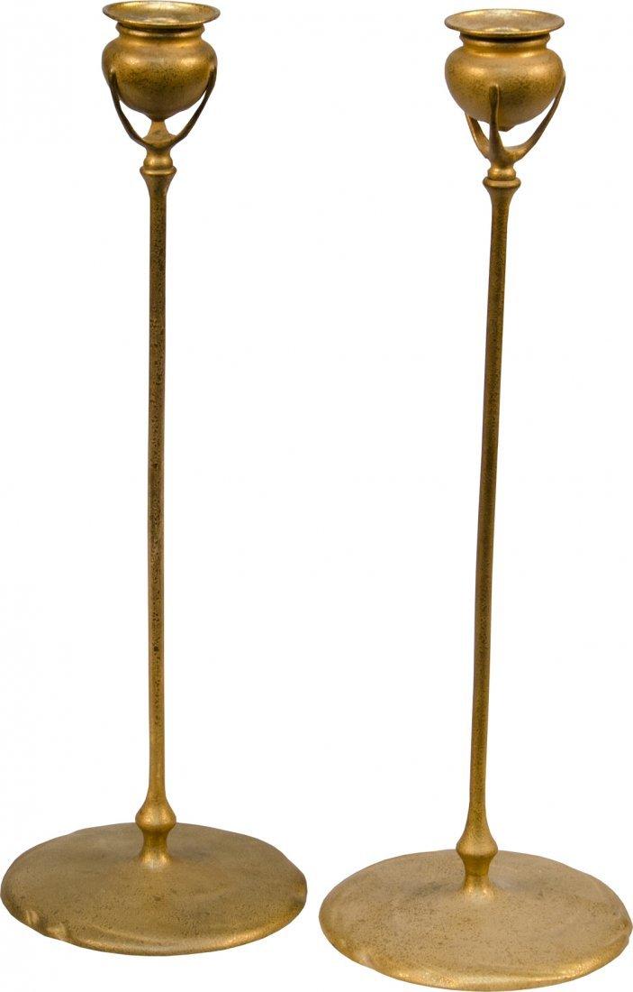 985: Pair of Tiffany Studios Bronze Candlesticks