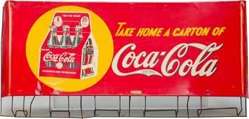 1052A CocaCola Carton Rack w Tin Curved Take Home a