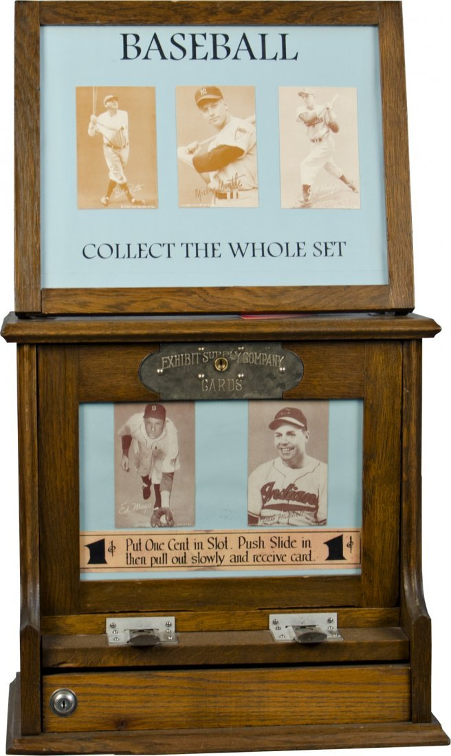 9: 1 Cent Wood Baseball Card Exhibit Vending Machine by