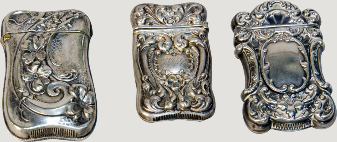14: Lot Of 3 Fancy Embossed Silver Victorian Match Safe