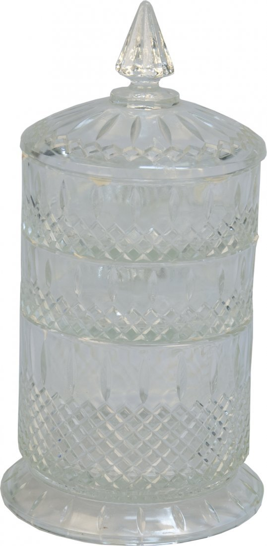 16: Fancy Glass 3 Stackable Section Candy Jar w/ Lid