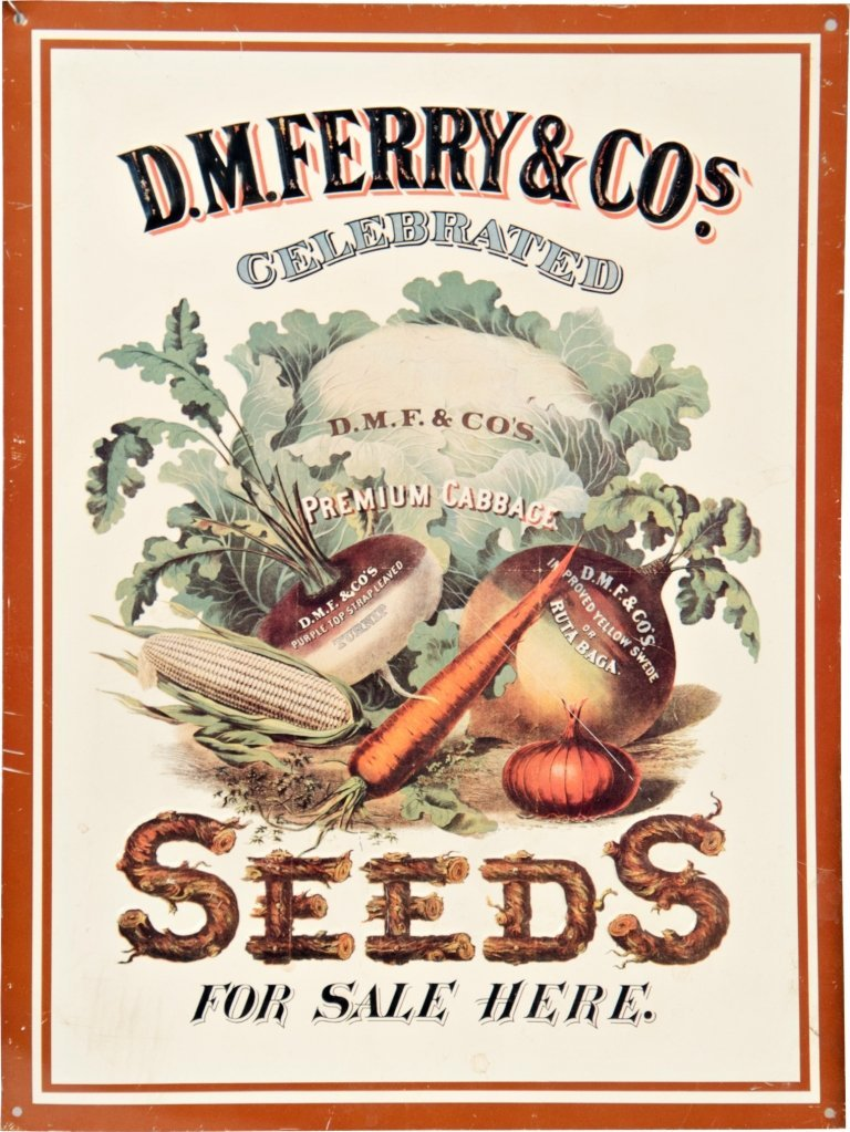 18: D.M. Ferry & Co. Celebrated Seeds Embossed Tin Sign