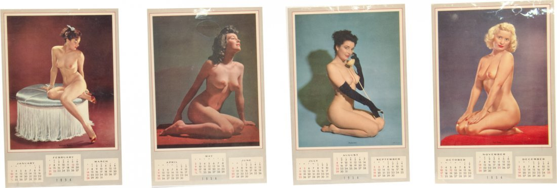 20: Lot Of 4 - 1954 Complete Nude Pin-Up Girlie Calenda