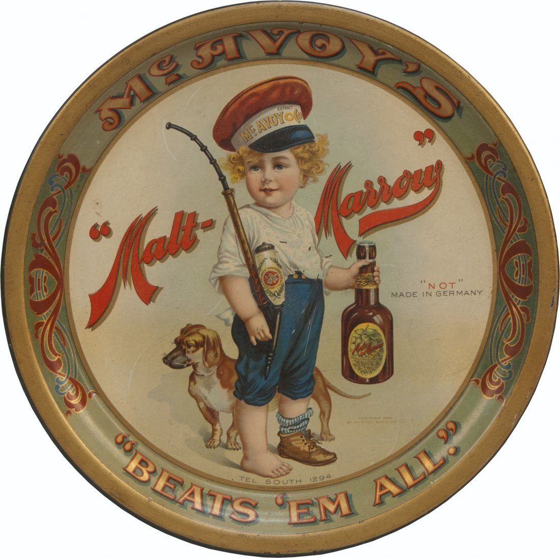 24: McAvoy's Malt-Marrow Round Tin Advertisement Servin