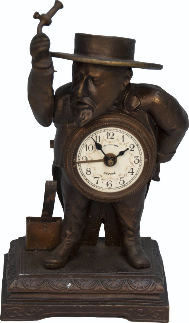 156: Early Countertop Brass Depose Figural French Man A