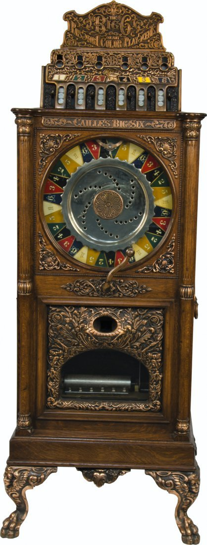 280: 5 Cent Caille Big Six Upright Slot Machine w/ Musi