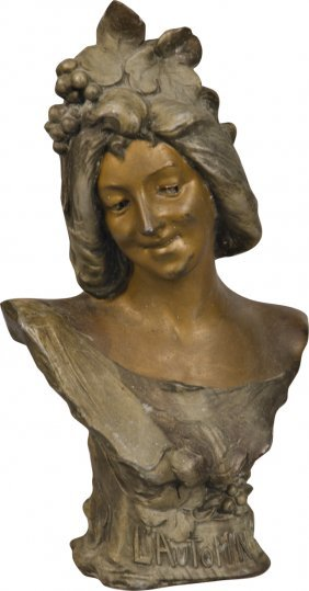 """605: Spelter Bust Statue of Woman """"L' Automne"""""""