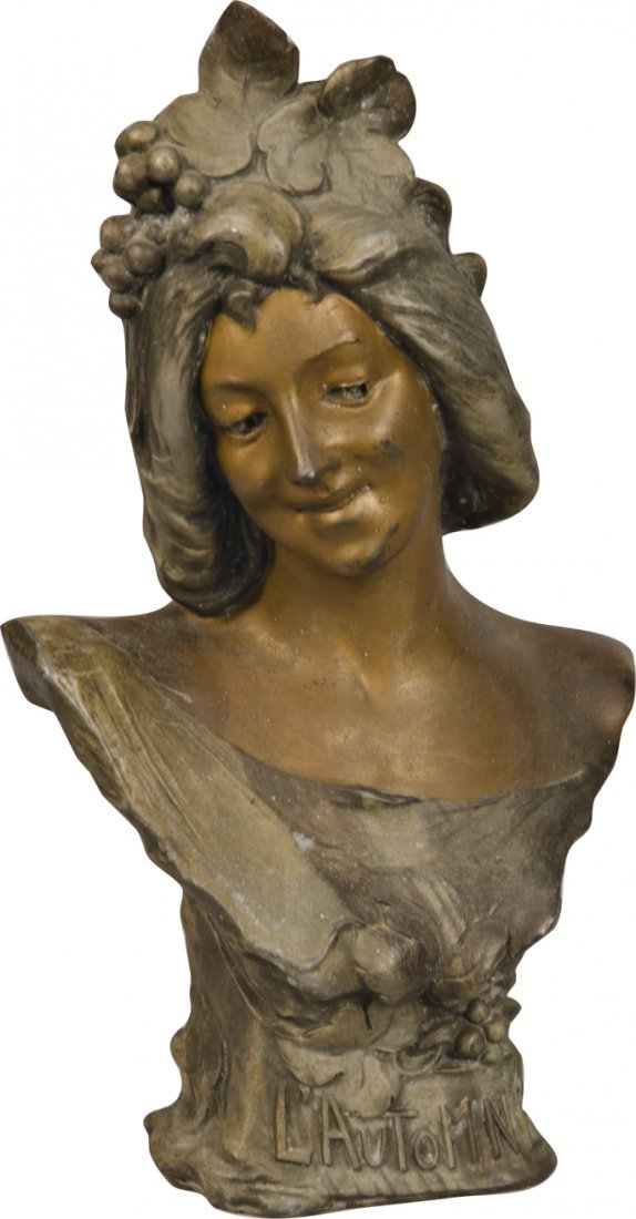 "605: Spelter Bust Statue of Woman ""L' Automne"""