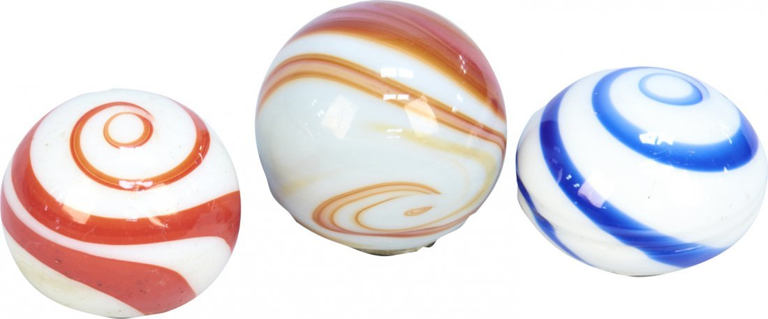 614: Lot of 3 Marble Swirl-Design Screw-On Knobs: