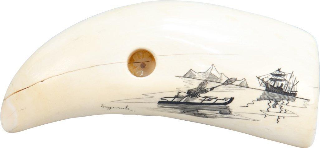 616: Engraved Tusk w/ Art By Nuguruk