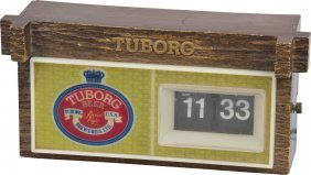 Plastic Light-Up Tuborg Beer Cash Register Sign W/