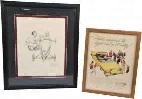 619: Lot of 2 Vintage Pictures In Frames:
