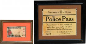 622: Lot of 2 Rose Bowl Items In Frames: