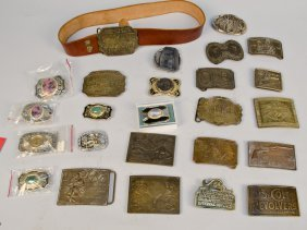 624: Lot of 25 Assorted Metal Belt Buckles And 1 Brown