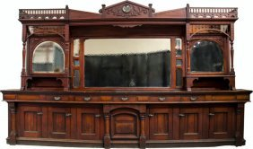 800: Early Wooden & Beveled Mirrors Saloon Back-Bar
