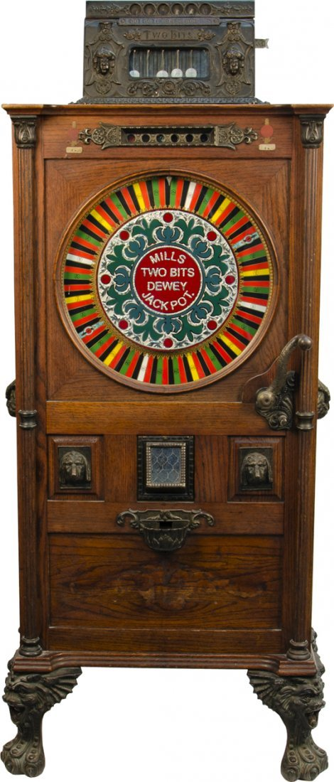 """850: 25 Cent Mills Novelty """"The Dewey"""" Two-Bit Uprigt S"""
