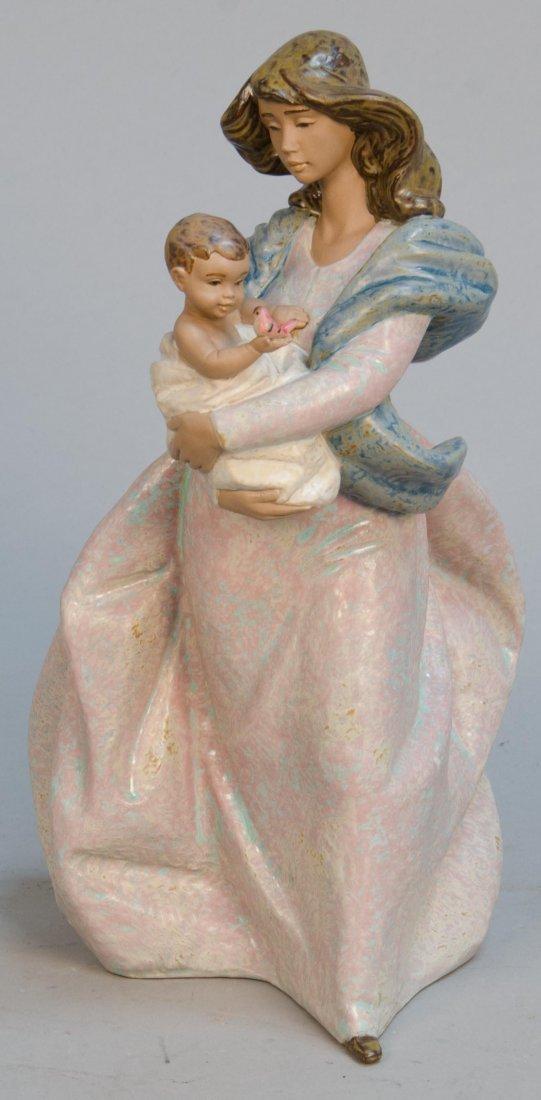 Lladro Figural Porcelain Mother & Child w/ Bird Decorat