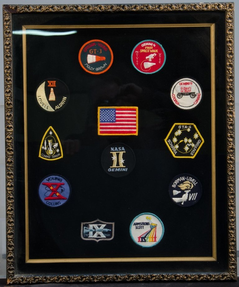 Lot Of 12 Astronaut/NASA/Space Patches In Fancy Display
