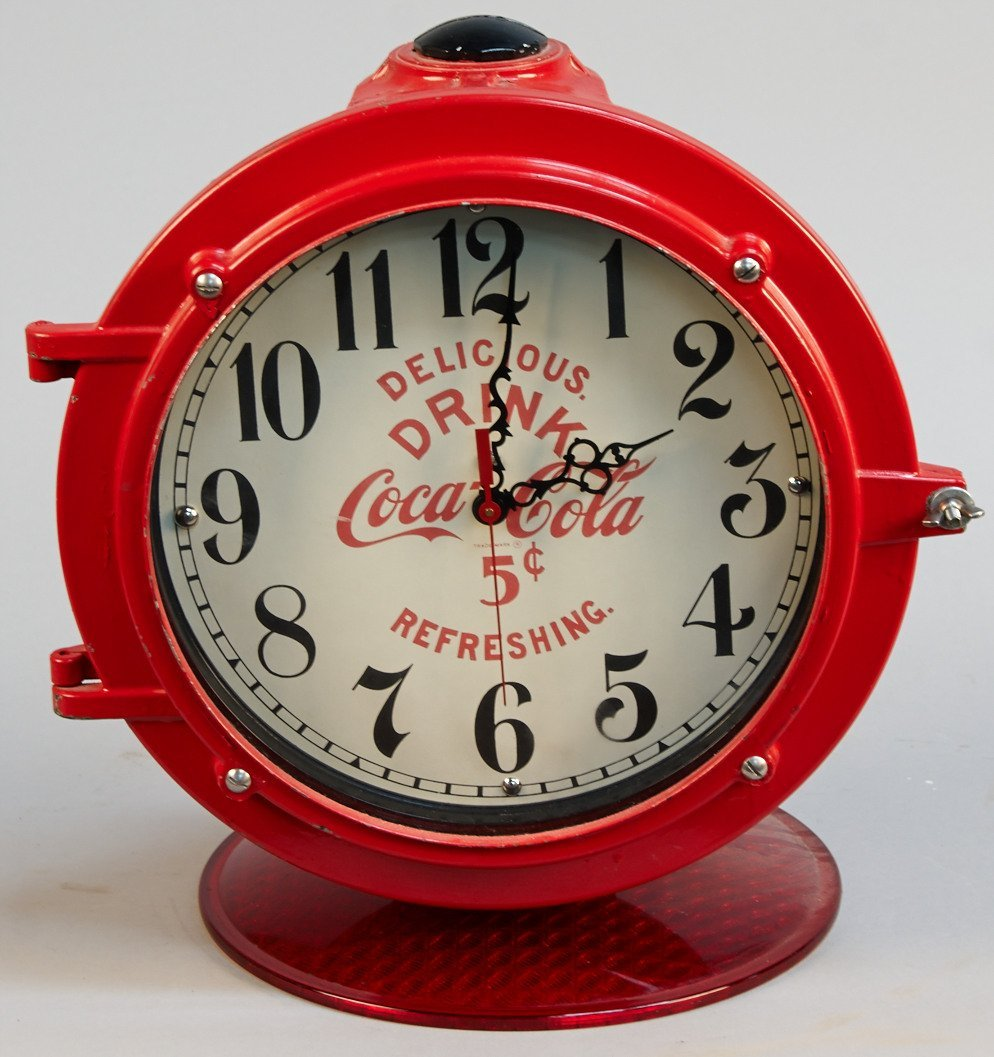 """""""Drink Coca Cola 5 Cents"""" Red Countertop Porthole Clock"""