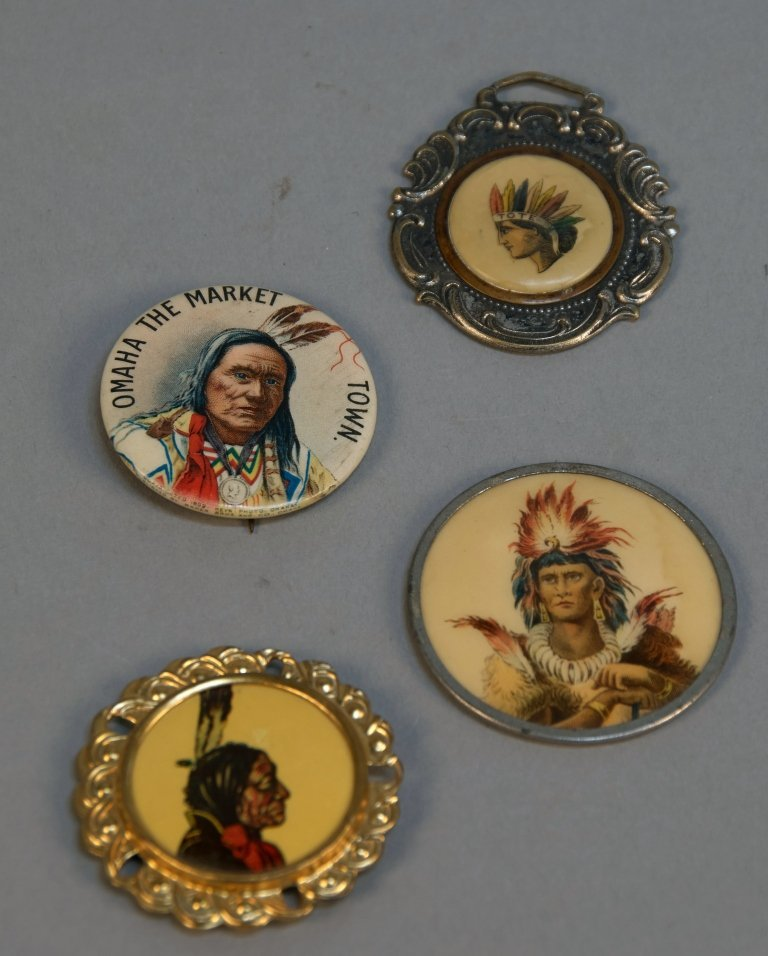 Lot Of 4 Small Indian Head Buttons/Fobs: