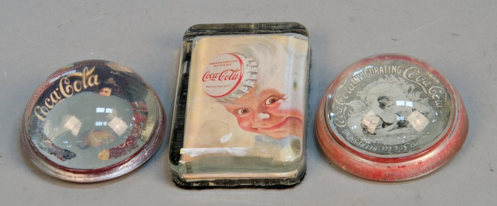 Lot Of 3 Coca Cola Advertising Paper Weights: