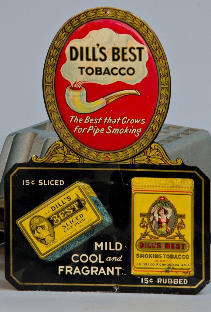 Dill's Best Tobacco Embossed Die-Cut Tin Advertisement
