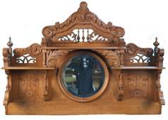 Early Oak Ornate Decorative Mantel Piece