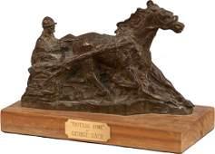 """Trotting Home"" George Gach Bronze Statue On Wood Base"