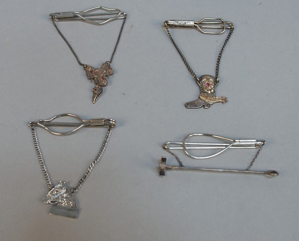 Lot Of 4 Tie Tac Wire Clips In Cases: