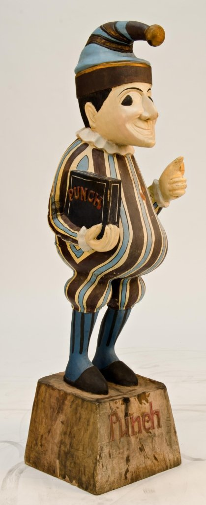 """Large Painted Wooden """"Punch"""" Cigar Store Figure On Wood"""