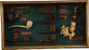 Early Smoking Pipes In Wood And Glass Display Case