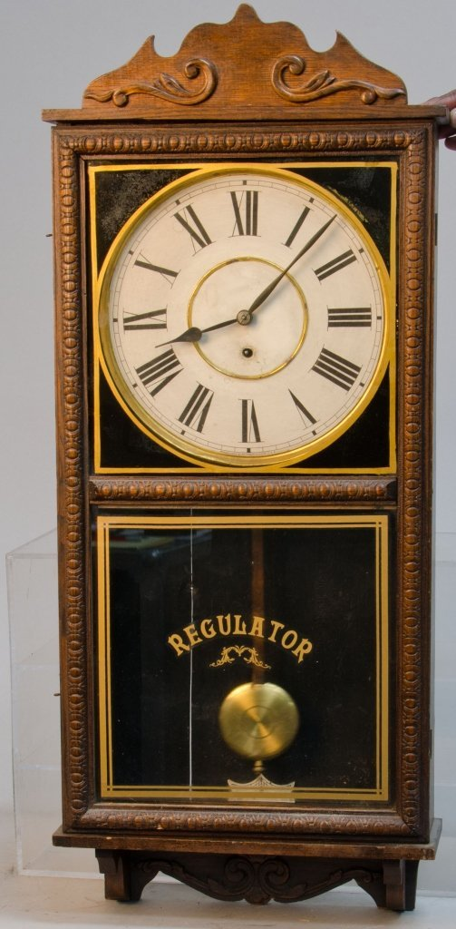 Vintage Waterbury Store Regulator Time Only Wall Clock