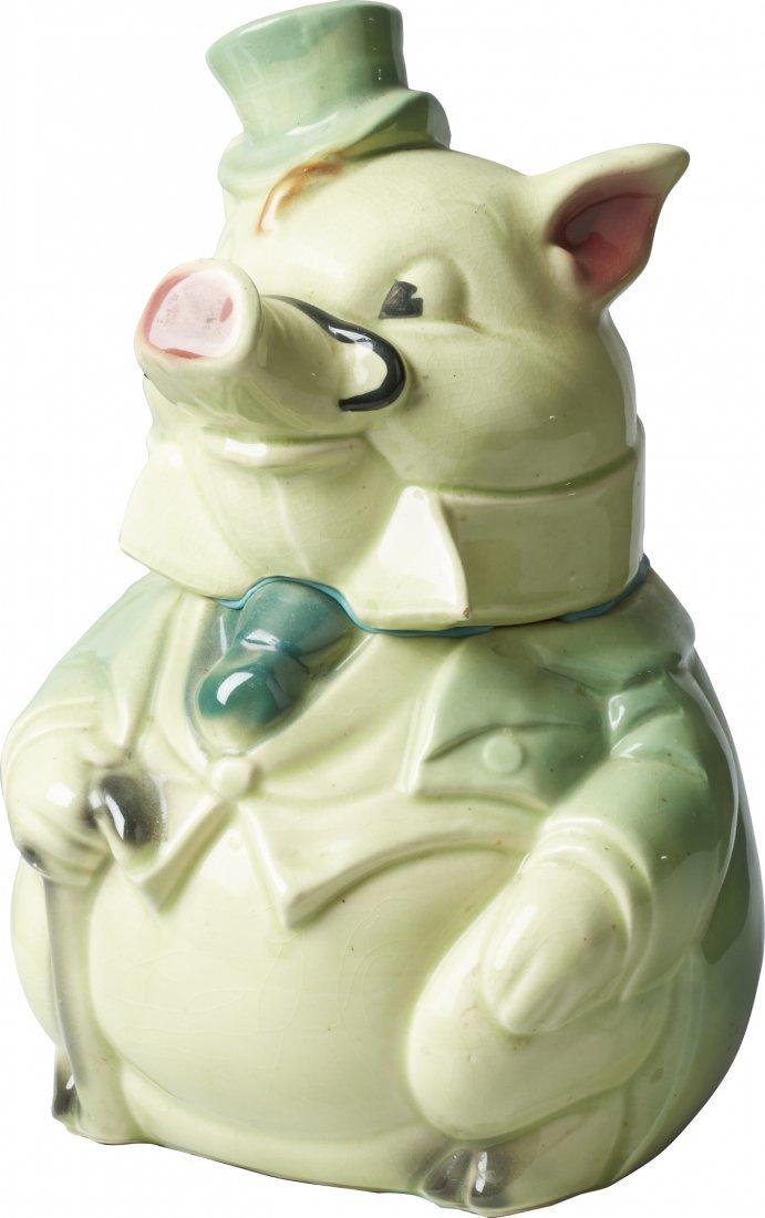 Brush Pottery Formal Pig w/ Green Coat Ceramic Cookie J