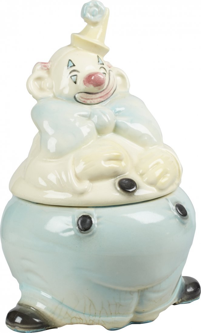 Brush Pottery Clown w/ Blue Pants Ceramic Cookie Jar