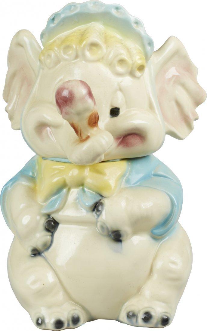 Brush Pottery Elephant w/ Ice Cream Cone Ceramic Cookie