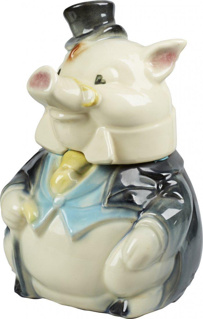 Brush Pottery Formal Pig Ceramic Cookie Jar