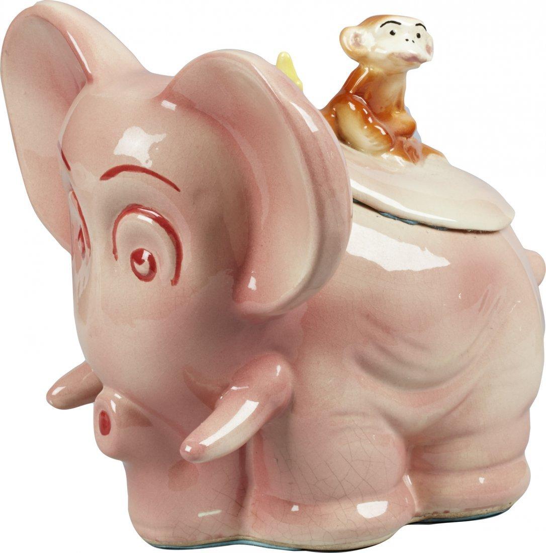 Brush Pottery Pink Elephant w/ Brushed Monkey Finial