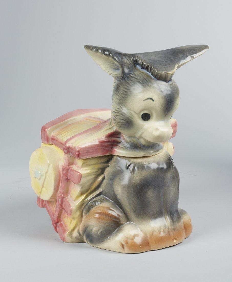 Brush Pottery Donkey w/ Cart Ceramic Cookie Jar - 2
