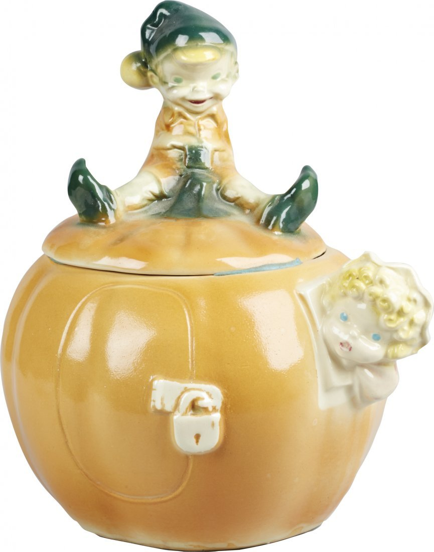 Brush Pottery Pumpkin w/ Lock On Door Ceramic Cookie Ja