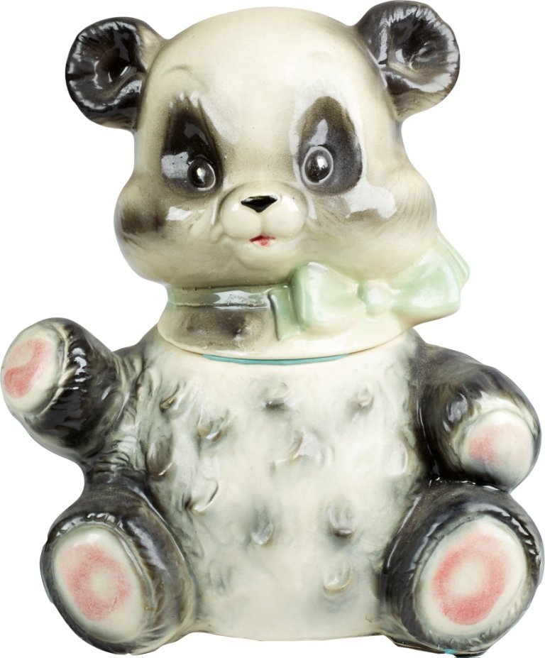 Brush Pottery Panda w/ Green Bow Ceramic Cookie Jar