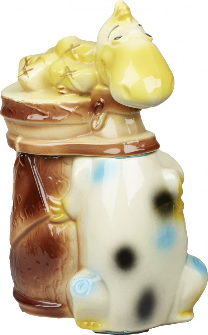 American Bisque Dino With Golf Clubs Ceramic Cookie Jar