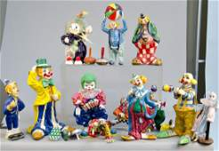 Large Box Lot of Misc Paper Mache Clowns and Tin Toys