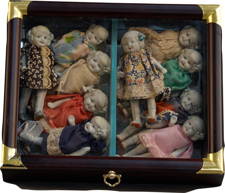 Lot of 9 Early Small Porcelain Dolls in Wood & Glass Mi