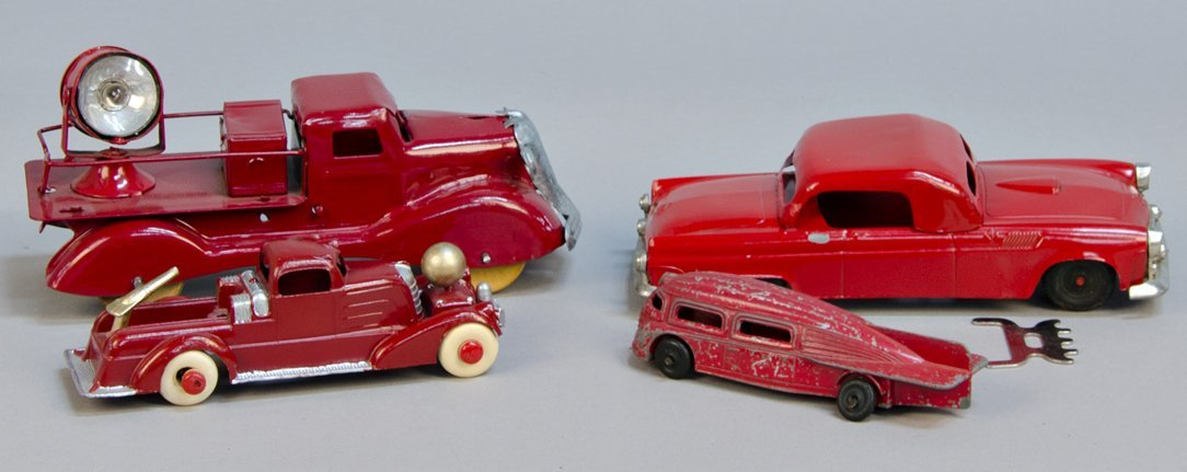 Lot of 4 Red Pressed Steel Toy Cars: