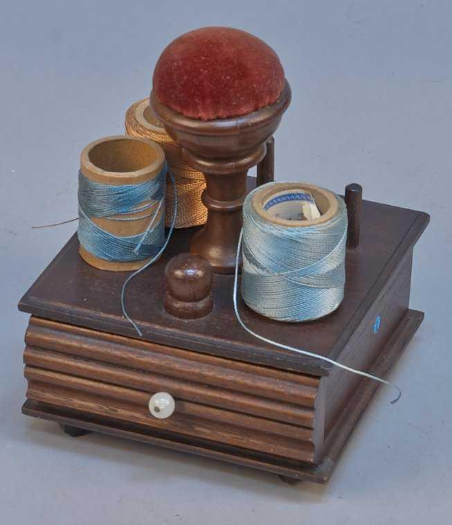 Antique Wooden Thread Spool Holder/ Pin Cushion Box