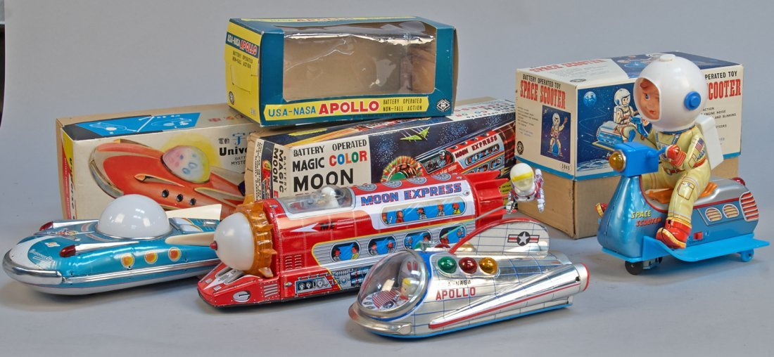 Lot of 4 - Vintage Space Related Tin Toys: